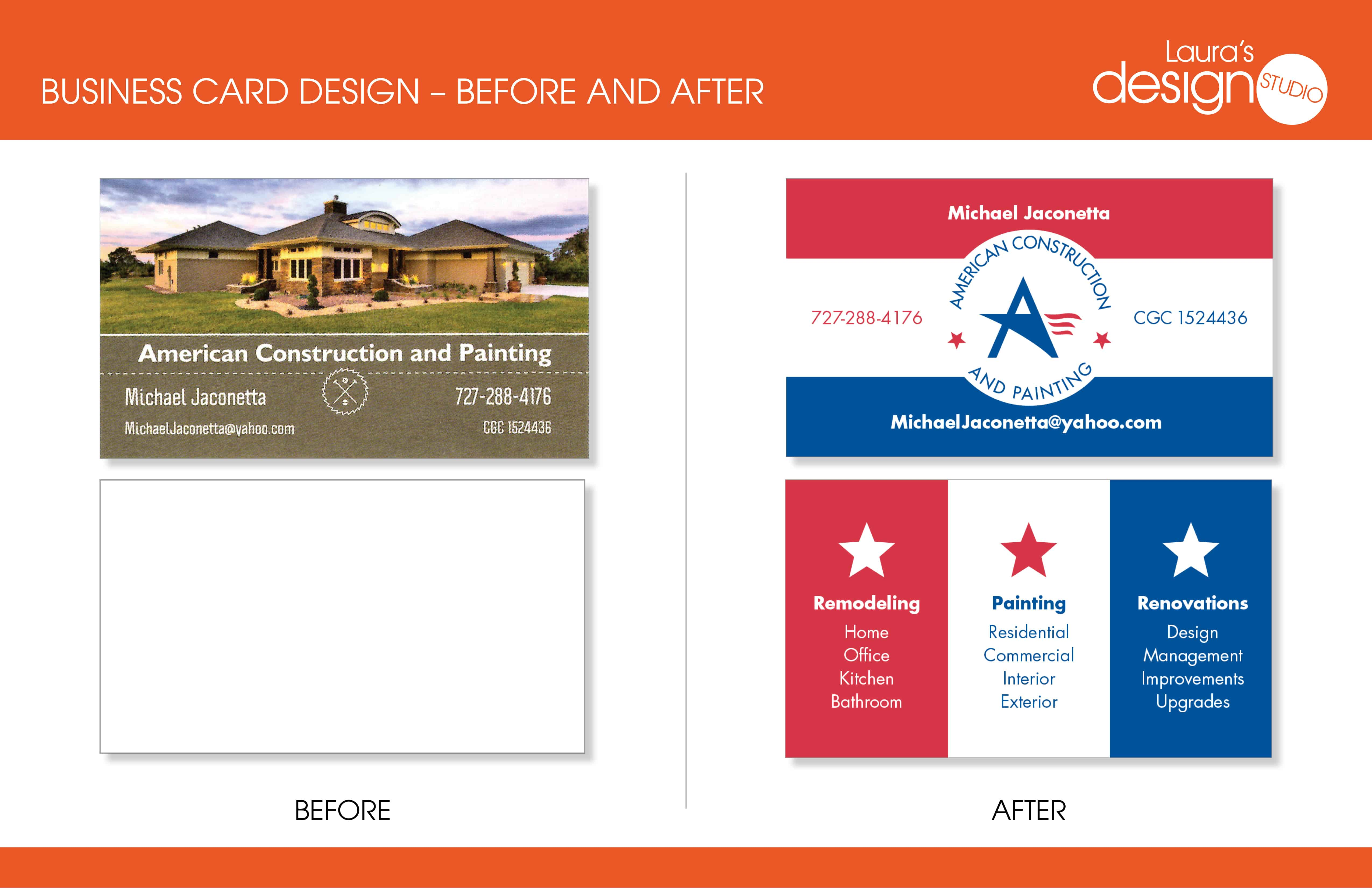 American Construction Logo and Business Card – Before and After