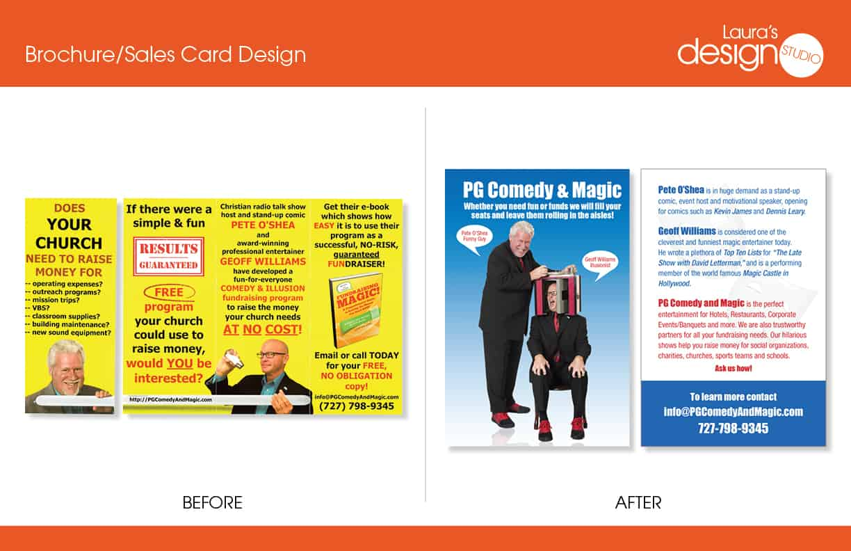 Pg comedy magic brochuresales card before and after lauras its great if you can design your materials yourself but it can also hurt your image if its not done professionally take a look at the before and after solutioingenieria Choice Image