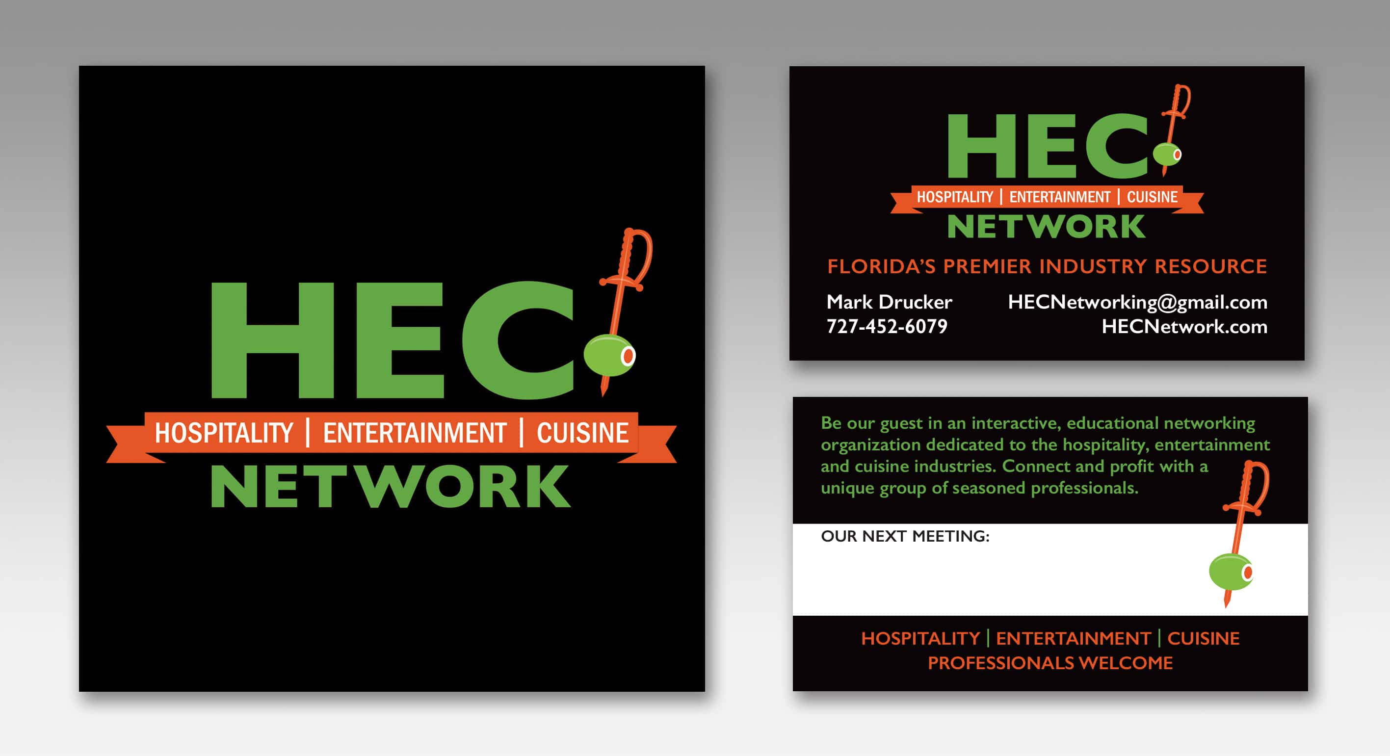 Logo Design, Graphic Designer, Business Card Designer, and Printer for HEC Network in Tampa Bay, Florida