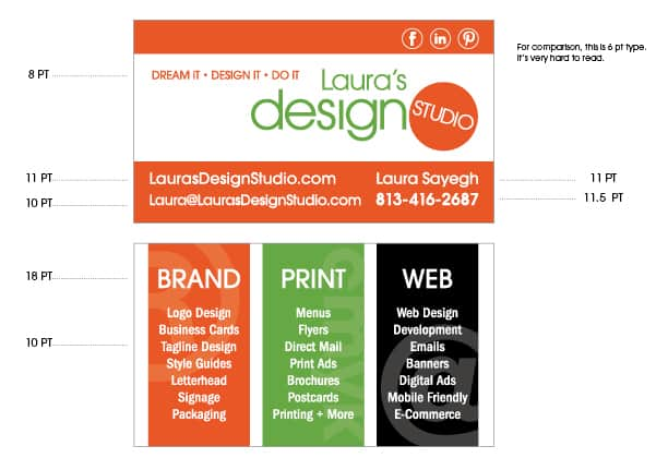 Business Card Font Sizes